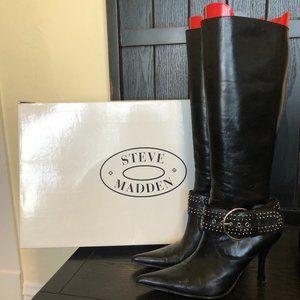 Steve Madden Gemma Black 7.5 Buckle Zip Heel Boots